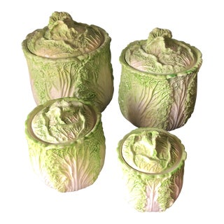 Vintage Ceramic Cabbage Containers - Set of 4 For Sale