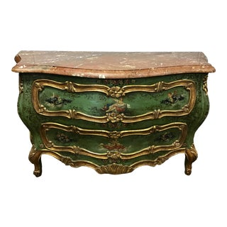 A Large Venetian Painted and Gilt Wood Commode For Sale
