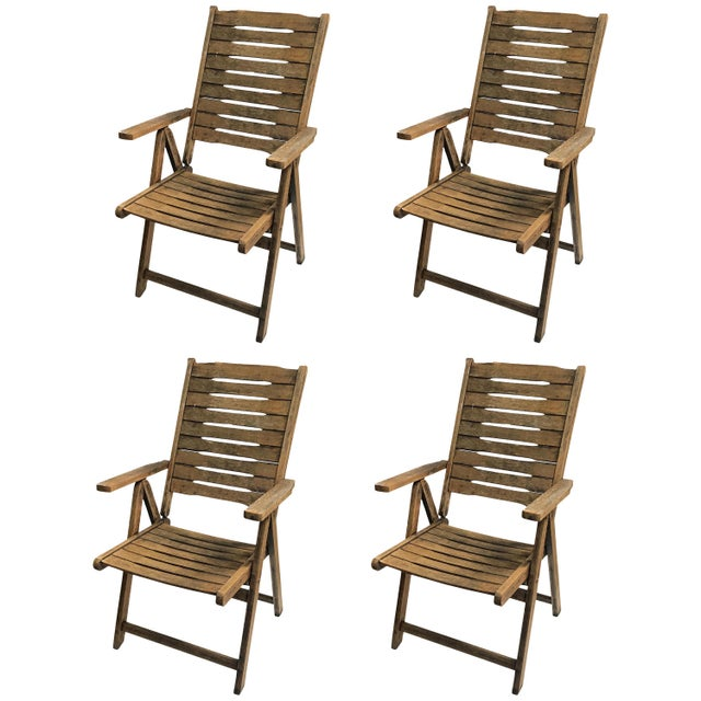 mid century wooden reclining lawn or patio chairs set of 4