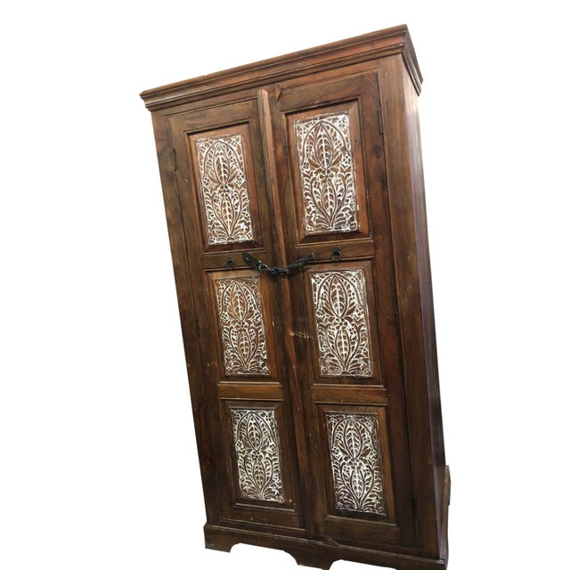 Shabby Chic Antique Rustic Handcrafted Floral Carving Cabinet For Sale - Image 3 of 8
