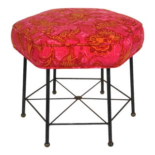 Vintage 1950's Modernist Pink and Orange Velvet Iron Footstool / Ottoman For Sale