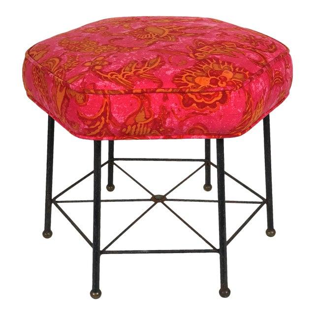 Vintage 1950's Modernist Pink and Orange Velvet Iron Footstool / Ottoman For Sale