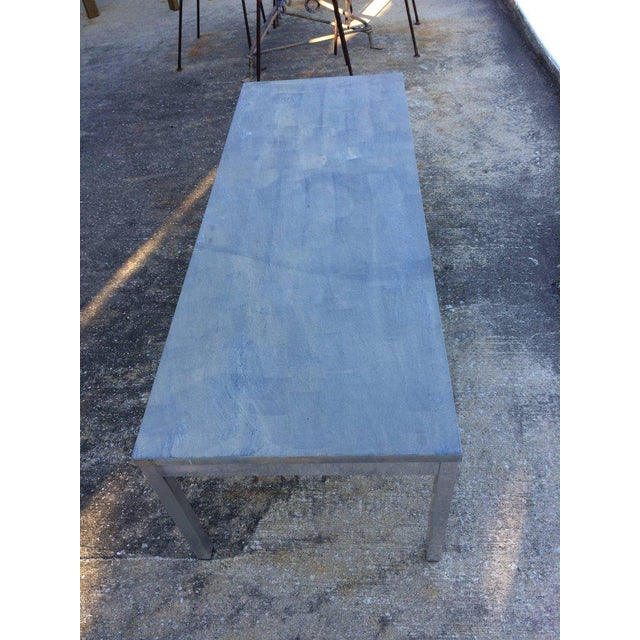 1990s Minimalistic Slate Coffee Table With Aluminum Base For Sale - Image 9 of 11