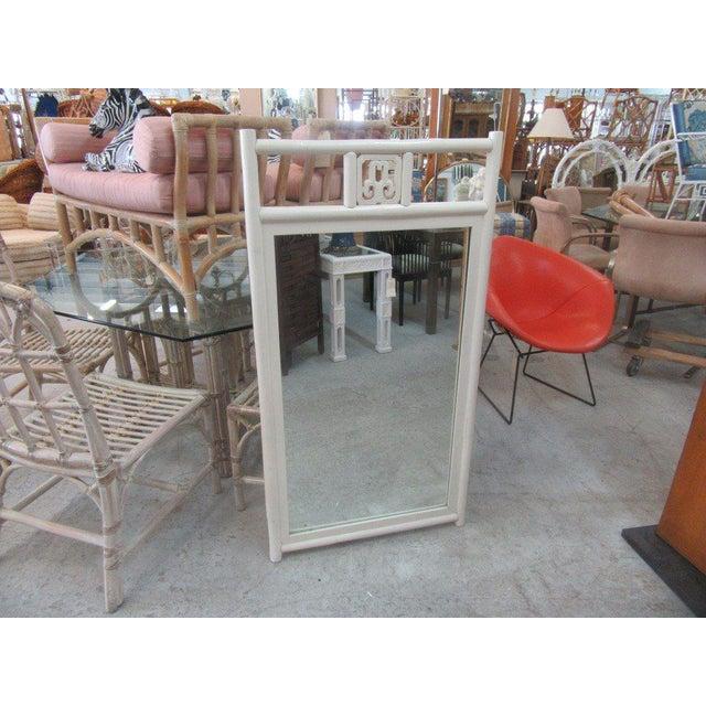 Vintage White Rattan Mirror - Image 5 of 5
