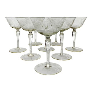 Early 20th Century Etched Glass Champagne Coupes Glasses -Set of 8 For Sale