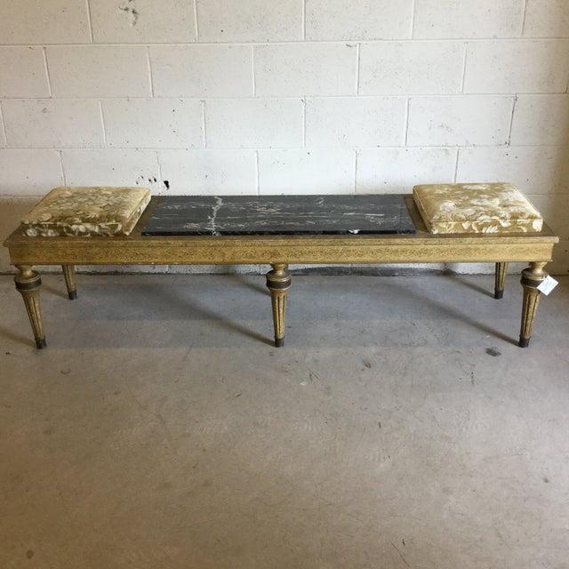 Hollywood Regency Wood Marble Upholstered Bench For Sale - Image 11 of 13