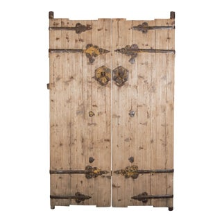 Antique Pine Chinese Doors / Gates - a Pair For Sale