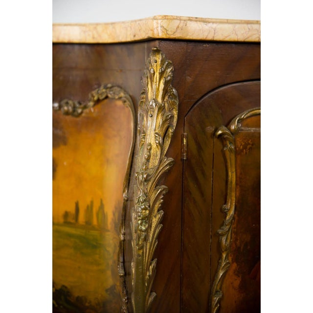 Gold 19th Century Antique French Vernis Martin Style Marble Top and Bronze Commode For Sale - Image 8 of 13