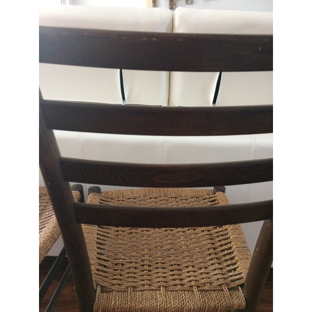 Vintage Italian Woven Seat Dining Chairs - A Pair - Image 5 of 11