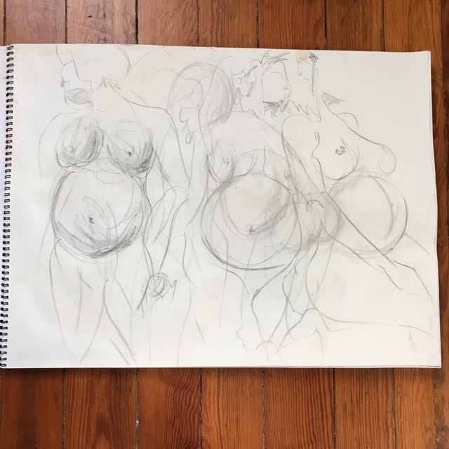 Loose, figural drawing of pregnant nude by artist Alice Houston Miles, 2013. Charcoal on heavyweight paper. Some bleeding...