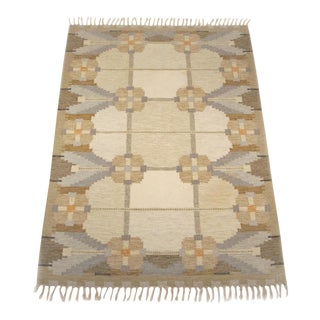 "Vintage Mid-Century Swedish Flat Weave Rug, 1960s - 5'5"" x 7'9"" For Sale"