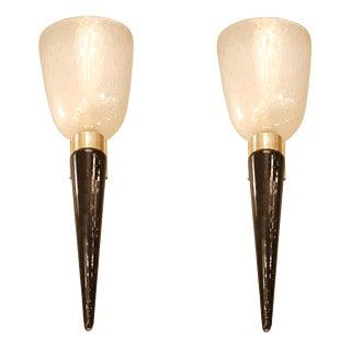 Seguso mid century modern pair of Murano glass sconces