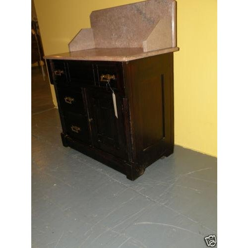 Antique Eastlake Style Marble Top Dry Sink Table - Image 4 of 9