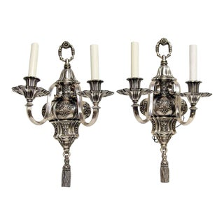1920s Ornate Georgian Ef Caldwell Silvered Bronze Sconces - a Pair For Sale