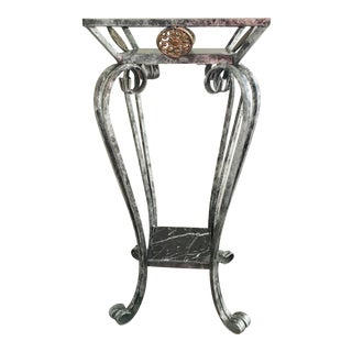 Marble & Wrought Iron Pedestal / Plant Stand For Sale