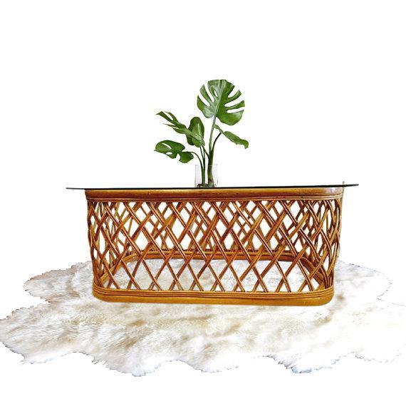 Mid Century Modern Bent Bamboo Coffee Table Franco Albini Style