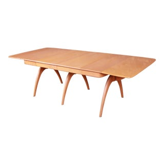 Heywood Wakefield Mid-Century Modern Solid Maple Wishbone Extension Dining Table, 1950s For Sale