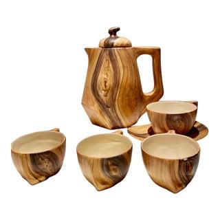 Grandjean Jourdan Mid-Century Modern Vallauris Faux Bois Ceramic Pitcher & Cups - 7 Pieces