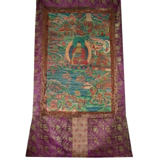 Antique Buddhist Thangka Textile For Sale