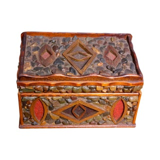 Mid-Century Folk Art Pebble-Encrusted Box For Sale