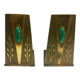 Vintage Turquoise Inset Brass Bookends - A Pair