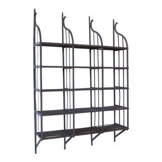 Wrought Iron Wall-Hanging Shelving Rack For Sale