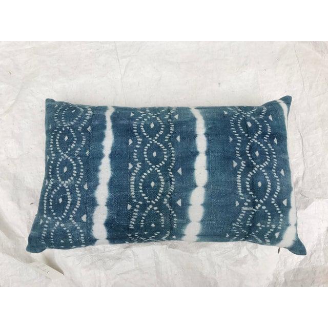 African Indigo Faded Tye-Dye Fringe Pillows - A Pair - Image 3 of 10