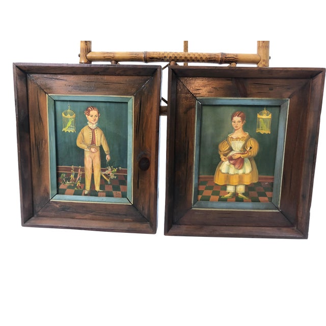 Folk Art Portraits by Jean Halter in Original Frames - a Pair For Sale