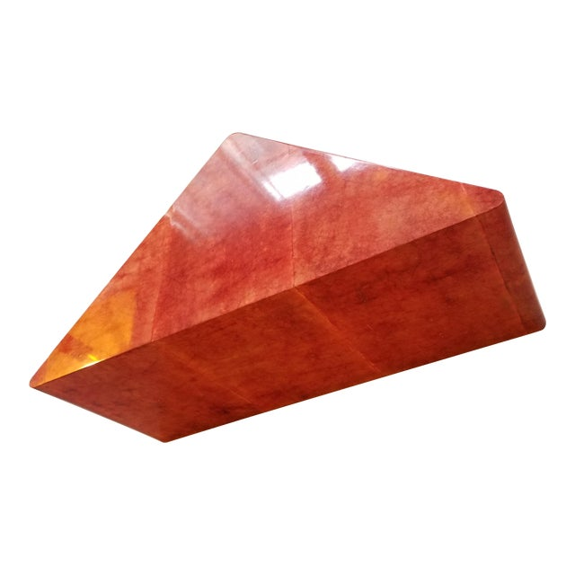 1980's Triangular Died Parchment Coffee Table in the Manner of Karl Springer - Image 1 of 4