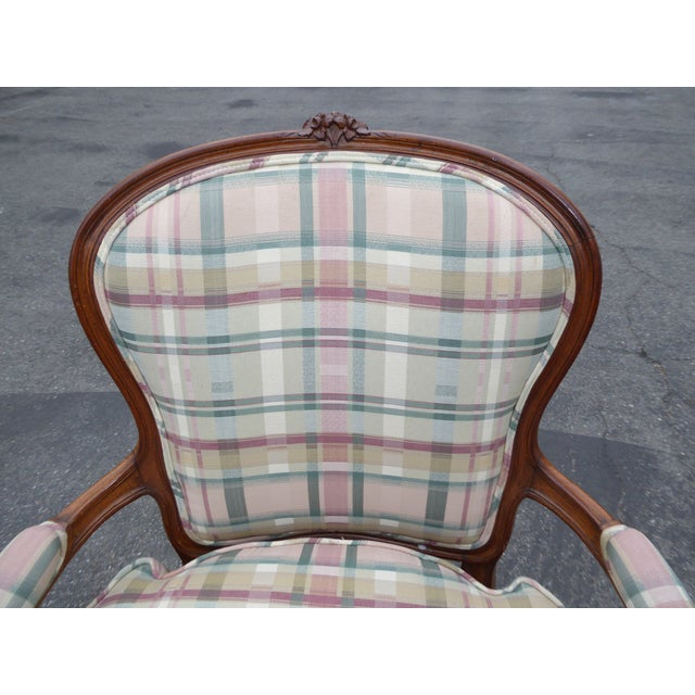 Vintage French Country Carved Wood & Plaid Arm Chair - Image 6 of 11