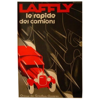 1980s Original French Art Deco Poster - Laffly - Le Rapide Des Camions - Roggero (After) For Sale