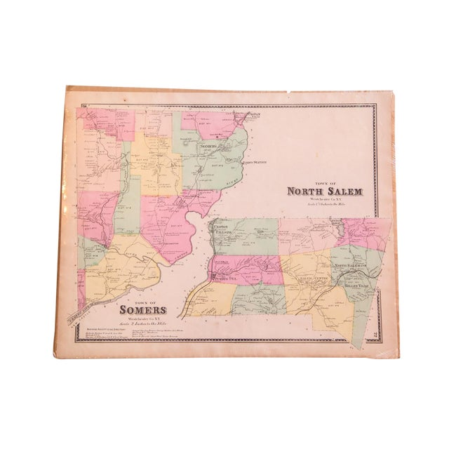 Salem New York Map.Antique Somers North Salem Ny Map Chairish