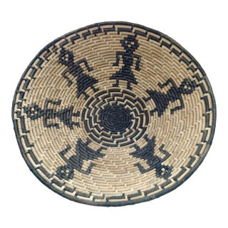Vintage Figurative Woven Sri Lankan Festival Grain Basket For Sale