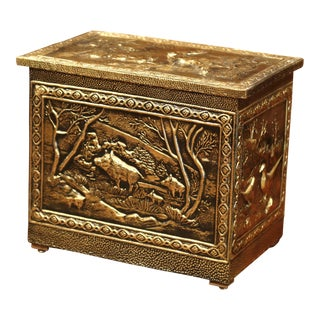 Mid-20th Century French Copper Repousse Decorative Box with Hunting Scenes