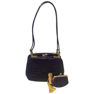 Judith Leiber Dark Purple Alligator Shoulder Bag For Sale