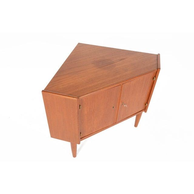 Danish Modern Low Teak Corner Cabinet - Image 4 of 8