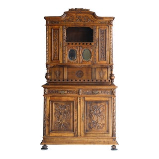 Antique French Carved Oak Music Cabinet For Sale