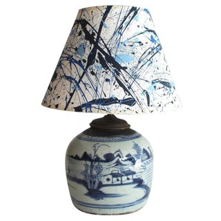 Early 19th Century Blue and White Canton Table Lamp For Sale