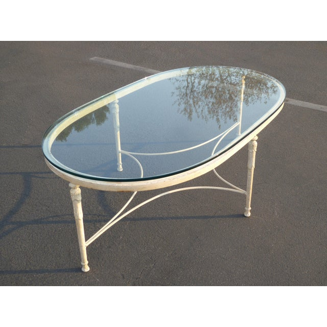 Vintage French Country Style Oval Off-White Iron Glass Top Coffee Table - Image 5 of 10