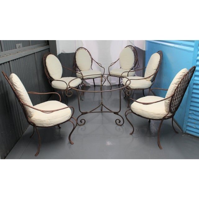 For sale are (6) amazing Rose Tarlow Twig Iron Garden Armchairs, by L.A. Designer Rose Tarlow, and a similar Table Base,...