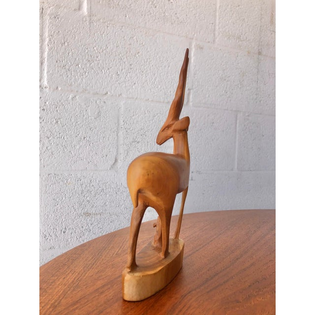 1960s Vintage Mid Century Modern Hand Carved Wood Antelope Sculpture For Sale - Image 5 of 8