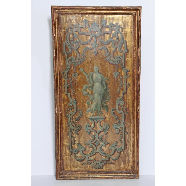 18th century Italian Neoclassical Paint and Parcel Gilt Panels / Roman Goddesses / Muses - Image 8 of 10