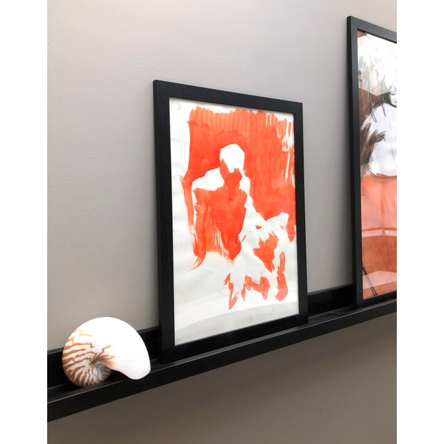 """Contemporary Figure Painting in Orange Ink, """"Seated Figure in Orange"""" by Artist David O. Smith For Sale - Image 4 of 12"""