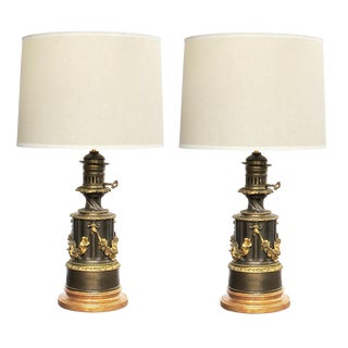 A Rare and Good Quality Pair of Lampe a Moderateur, Paris Louis Philippe Bronze Oil Lamps Now Electrified For Sale