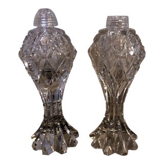 Crystal Salt & Pepper Shakers - A Pair For Sale