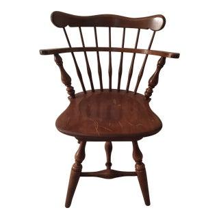 1960s Vintage Ethan Allen Solid Maple Swivel Desk Chair For Sale