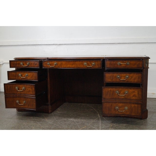 Lloyd Buxton Flame Mahogany Leather Top Executive Desk For Sale - Image 10 of 10
