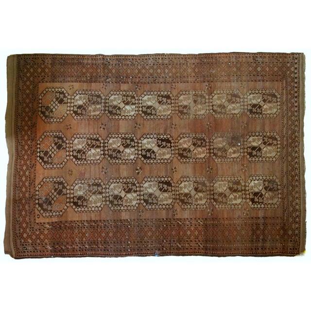 Orange 1900s handmade antique Afghan Ersari rug 8.6' X 11.8' For Sale - Image 8 of 13