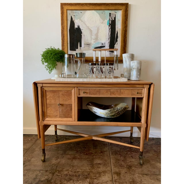 "Sleekly designed beautiful Birdseye Birch bar cart or breakfast cart. Each end folds up to add 20"" a side."