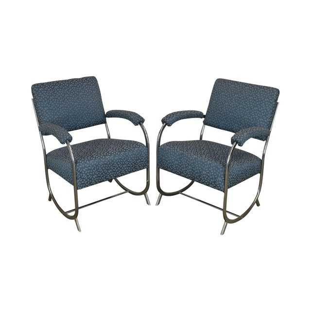 Art Deco Vintage Chrome Frame Pair of Armchairs For Sale - Image 13 of 13